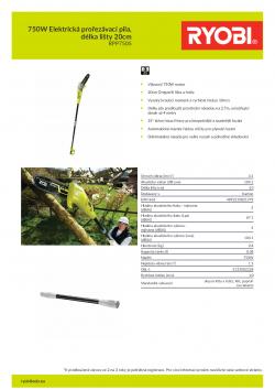 RYOBI RPP750S 750W Elektrická prořezávací pila, délka lišty 20cm 5133002228 A4 PDF