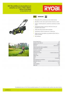 RYOBI RY36LMX51A 36V Bezuhlíková akumulátorová sekačka na trávu, šířka záběru 49cm (1x6.0Ah) 5133004589 A4 PDF