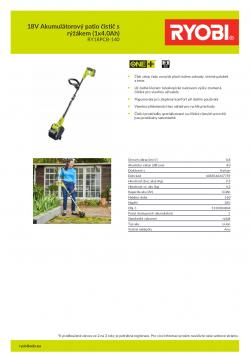 RYOBI PC18PCB 18V Akumulátorový patio čistič s rýžákem (1x4.0Ah) 5133004804 A4 PDF