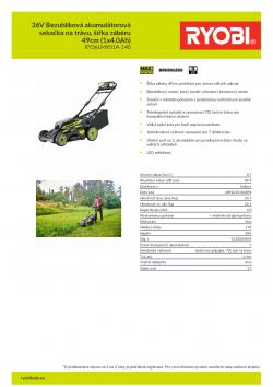 RYOBI RY36LMX51A 36V Bezuhlíková akumulátorová sekačka na trávu, šířka záběru 49cm (1x4.0Ah) 5133004645 A4 PDF