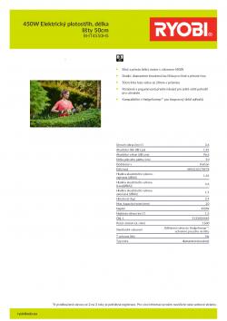RYOBI RHT4550 450W Elektrický plotostřih, délka lišty 50cm 5133004469 A4 PDF