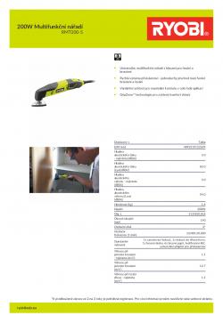 RYOBI RMT200 200W Multifunkční nářadí 5133001818 A4 PDF