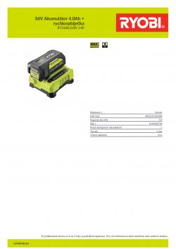 RYOBI RY36BC60A-140 36V Akumulátor 4.0Ah + rychlonabíječka 5133004705 A4 PDF