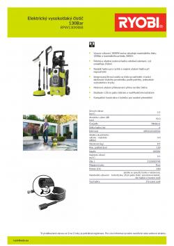 RYOBI RPW130XRBB Elektrický vysokotlaký čistič 130Bar 5133003748 A4 PDF