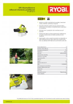 RYOBI RY18FGA 18V Akumulátorový mlhovač/chemický postřikovač 5133004912 A4 PDF