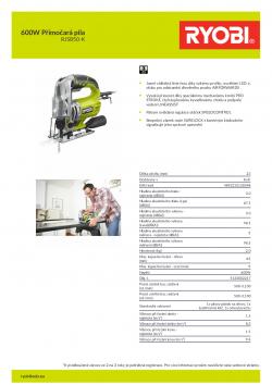 RYOBI RJS850 600W Přímočará pila 5133002217 A4 PDF