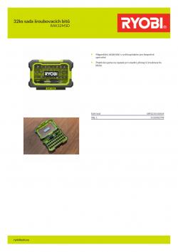 RYOBI RAK32MSD 32ks sada šroubovacích bitů 5132002798 A4 PDF