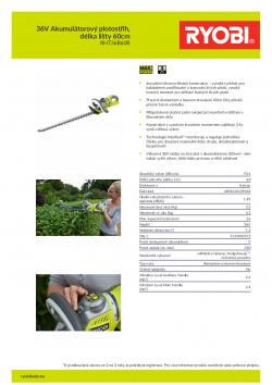 RYOBI RHT36B60R 36V Akumulátorový plotostřih, délka lišty 60cm 5133002572 A4 PDF