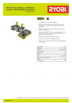 RYOBI RC18150-250 18V Sada akumulátoru s nabíječkou Lithium+ HIGH ENERGY (2x5.0Ah) 5133004422 A4 PDF