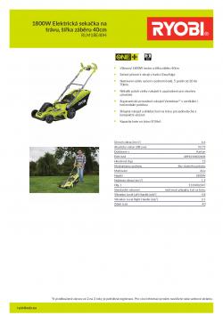 RYOBI RLM18E40H 1800W Elektrická sekačka na trávu, šířka záběru 40cm 5133002347 A4 PDF