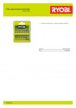 RYOBI RAK17SD 17ks sada šroubovacích bitů 5132002550 A4 PDF