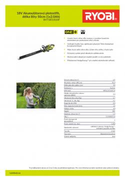 RYOBI RHT1851R 18V Akumulátorový plotostřih, délka lišty 50cm (1x2.0Ah) 5133003714 A4 PDF