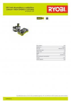 RYOBI RC18150-190 18V Sada akumulátoru s nabíječkou Lithium+ HIGH ENERGY (1x9.0Ah) 5133004421 A4 PDF