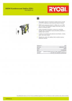 RYOBI RSDS800 800W Kombinované kladivo SDS+ 5133004440 A4 PDF