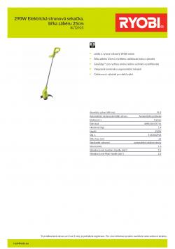 RYOBI RLT2925 290W Elektrická strunová sekačka, šířka záběru 25cm 5133002924 A4 PDF