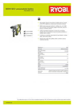 RYOBI RSDS800 800W SDS+ pneumatické kladivo 5133002517 A4 PDF