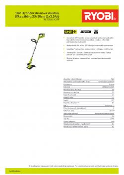 RYOBI RLT1831H 18V Hybridní strunová sekačka, šířka záběru 25/30cm (1x2.5Ah) 5133003711 A4 PDF