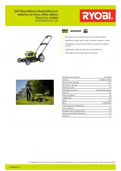 RYOBI RY36LMMX51A 36V Bezuhlíková akumulátorová sekačka na trávu, šířka záběru 51cm (1x 4.0Ah) 5133004591 A4 PDF