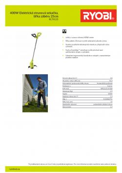 RYOBI RLT4125 400W Elektrická strunová sekačka, šířka záběru 25cm 5133002791 A4 PDF