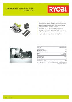 RYOBI RCS1600 1600W Okružní pila s vodící lištou 5133003387 A4 PDF