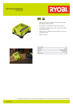 RYOBI RY36C60A 36V Rychlonabíječka 5133004555 A4 PDF