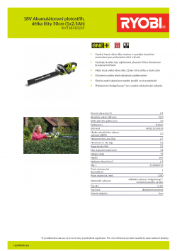 RYOBI RHT1851R 18V Akumulátorový plotostřih, délka lišty 50cm (1x2.5Ah) 5133003716 A4 PDF