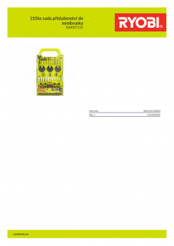 RYOBI RAKRT155 155ks sada příslušenství do minibrusky 5132004855 A4 PDF