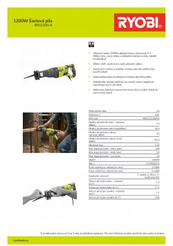 RYOBI RRS1200 1200W Šavlová pila 5133002472 A4 PDF