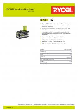 RYOBI RB18L50 18V Lithium+ akumulátor 5.0Ah 5133002433 A4 PDF