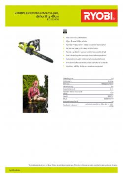 RYOBI RCS2340B 2300W Elektrická řetězová pila, délka lišty 40cm 5133004340 A4 PDF