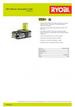 RYOBI RB18L25 18V Lithium+ akumulátor 2.5Ah 5133002237 A4 PDF