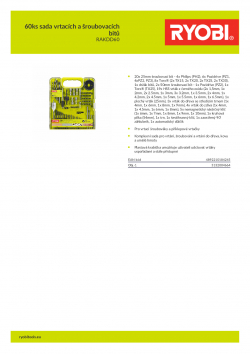 RYOBI RAKDD60 60ks sada vrtacích a šroubovacích bitů 5132004664 A4 PDF