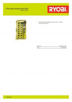 RYOBI RAK17SDC 17ks sada šroubovacích bitů 5132002682 A4 PDF