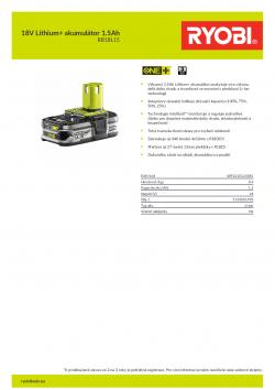 RYOBI RB18L15 18V Lithium+ akumulátor 1.5Ah 5133001905 A4 PDF
