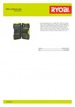 RYOBI RAK30MIX 30ks smíšená sada 5132002254 A4 PDF