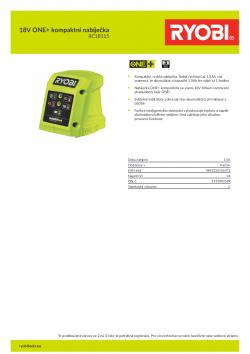 RYOBI RC18115 18V ONE+ kompaktní nabíječka 5133003589 A4 PDF