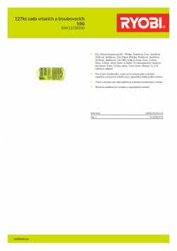 RYOBI RAK127DDSD 127ks sada vrtacích a šroubovacích bitů 5132003792 A4 PDF