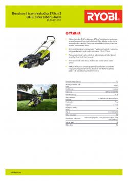 RYOBI RLM46175Y Benzinová travní sekačka 175cm3 OHC, šířka záběru 46cm 5133003671 A4 PDF