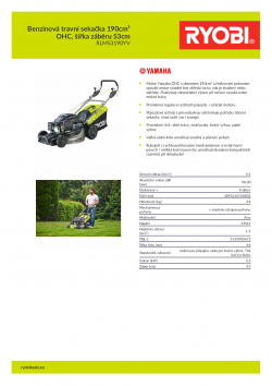 RYOBI RLM53190YV Benzinová travní sekačka 190cm³ OHC, šířka záběru 53cm 5133003672 A4 PDF