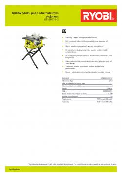 RYOBI RTS1800S-G 1800W Stolní pila s odnimatelným stojanem 5133002221 A4 PDF