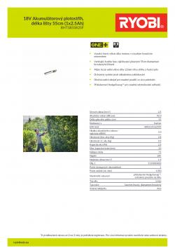 RYOBI RHT1855R 18V Akumulátorový plotostřih, délka lišty 55cm (1x2.5Ah) 5133003832 A4 PDF