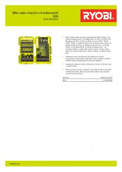 RYOBI RAK38DSD 38ks sada vrtacích a šroubovacích bitů 5132004388 A4 PDF