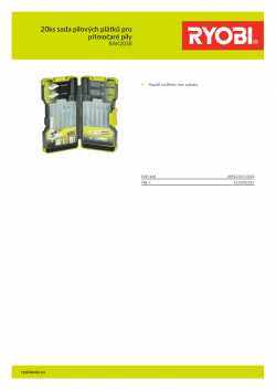 RYOBI RAK20JB 20ks sada pilových plátků pro přímočaré pily 5132002261 A4 PDF