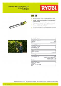 RYOBI RHT36C61R 36V Akumulátorový plotostřih, délka lišty 60cm 5133004318 A4 PDF