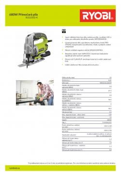 RYOBI RJS1050 680W Přímočará pila 5133002219 A4 PDF