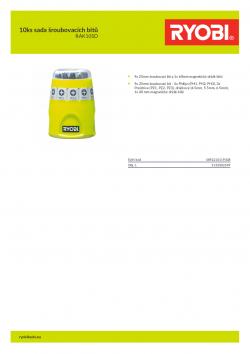 RYOBI RAK10SD 10ks sada šroubovacích bitů 5132002549 A4 PDF
