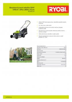 RYOBI RLM4114 Benzínová travní sekačka OHV 140cm³, šířka záběru 41cm 5133002884 A4 PDF