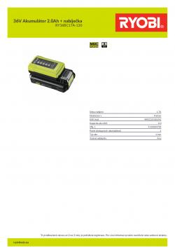 RYOBI RY36BC17A-120 36V Akumulátor 2.0Ah + nabíječka 5133004703 A4 PDF