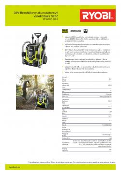 RYOBI RPW36120HI 36V Bezuhlíkový akumulátorový vysokotlaký čistič 5133002832 A4 PDF