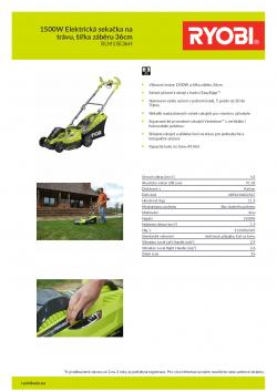 RYOBI RLM15E36H 1500W Elektrická sekačka na trávu, šířka záběru 36cm 5133002345 A4 PDF